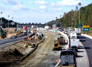 A southbound view of the I-95 Newark Toll Plaza (DelDOT).