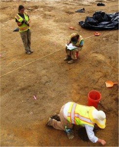 Cleaning off and Mapping a Pit Feature at the Bird-Houston Site