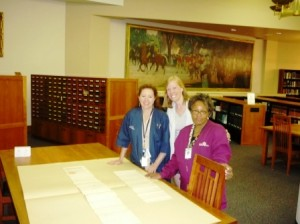 Dovetail historian Danae Peckler (center) with Margaret Dunham (left) and Cynthia Caldwell (right) uncovering archival treasures in the DPA research room.