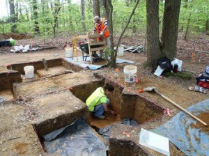 Completing excavation with soil-sample column retained