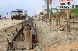 Crews prepared the curb area for concrete