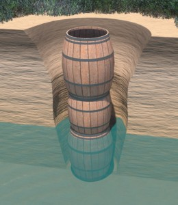 Figure 4: cut-away reconstruction of the Jones Site barrel well before the excavation hole was refilled.