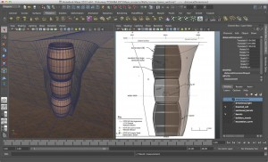 Figure 3: screen shot of well model in Autodesk Maya.