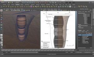 Figure 3: screen shot of well model in Autodesk Maya.
